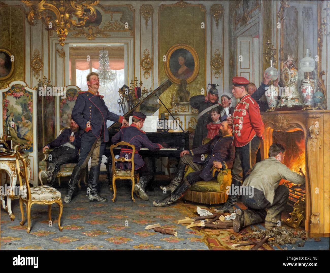 Anton von Werner - A Billet outside Paris - 1894 - XIX th century - German school - Alte Nationalgalerie - Berlin - Stock Image