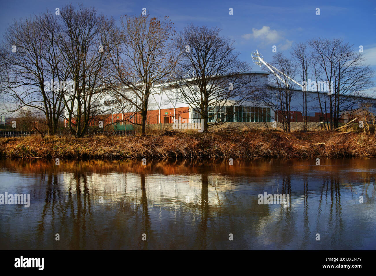 UK,South Yorkshire,Rotherham,New York Stadium & reflections in River Don - Stock Image