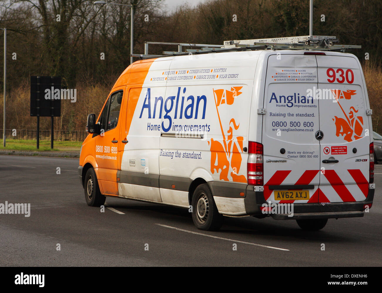 An Anglian Home Improvements Van Traveling Around A Roundabout In Stock Photo Alamy