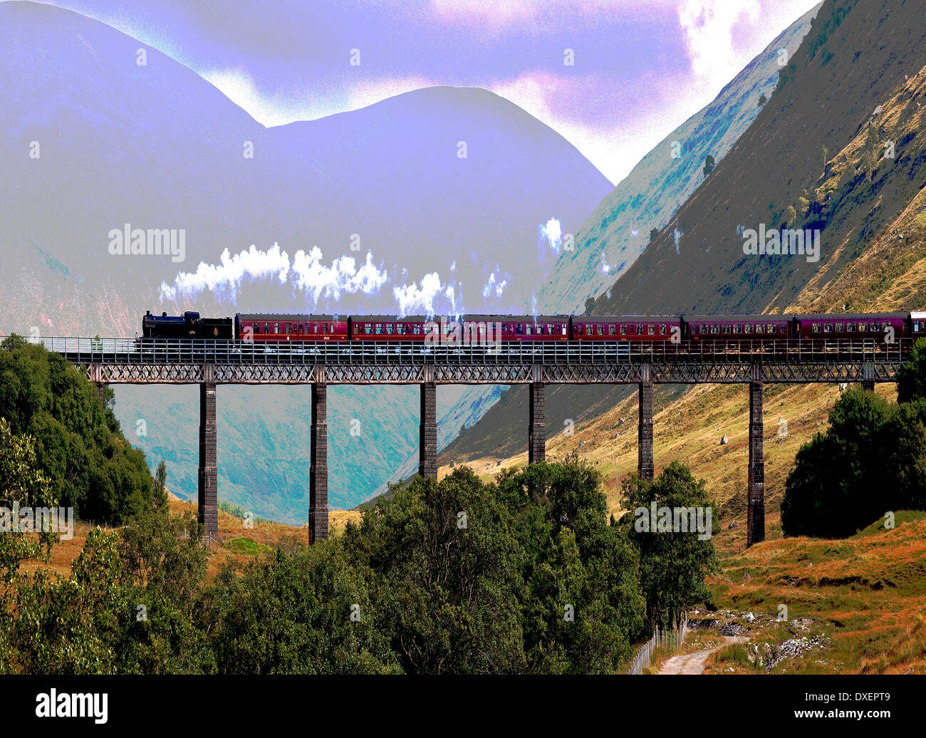 Abstract Art, Steam Train crossing Auch Viaduct, west Highlands. - Stock Image