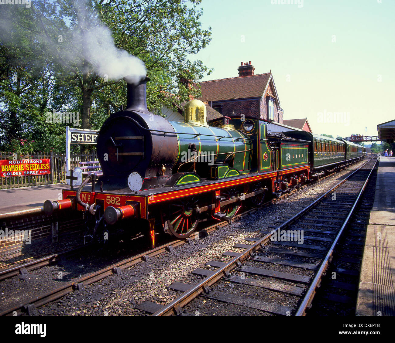 A  Wainwright C Class steam train 0-6-0   sits at Sheffield park station on the Bluebell line Sussex England - Stock Image