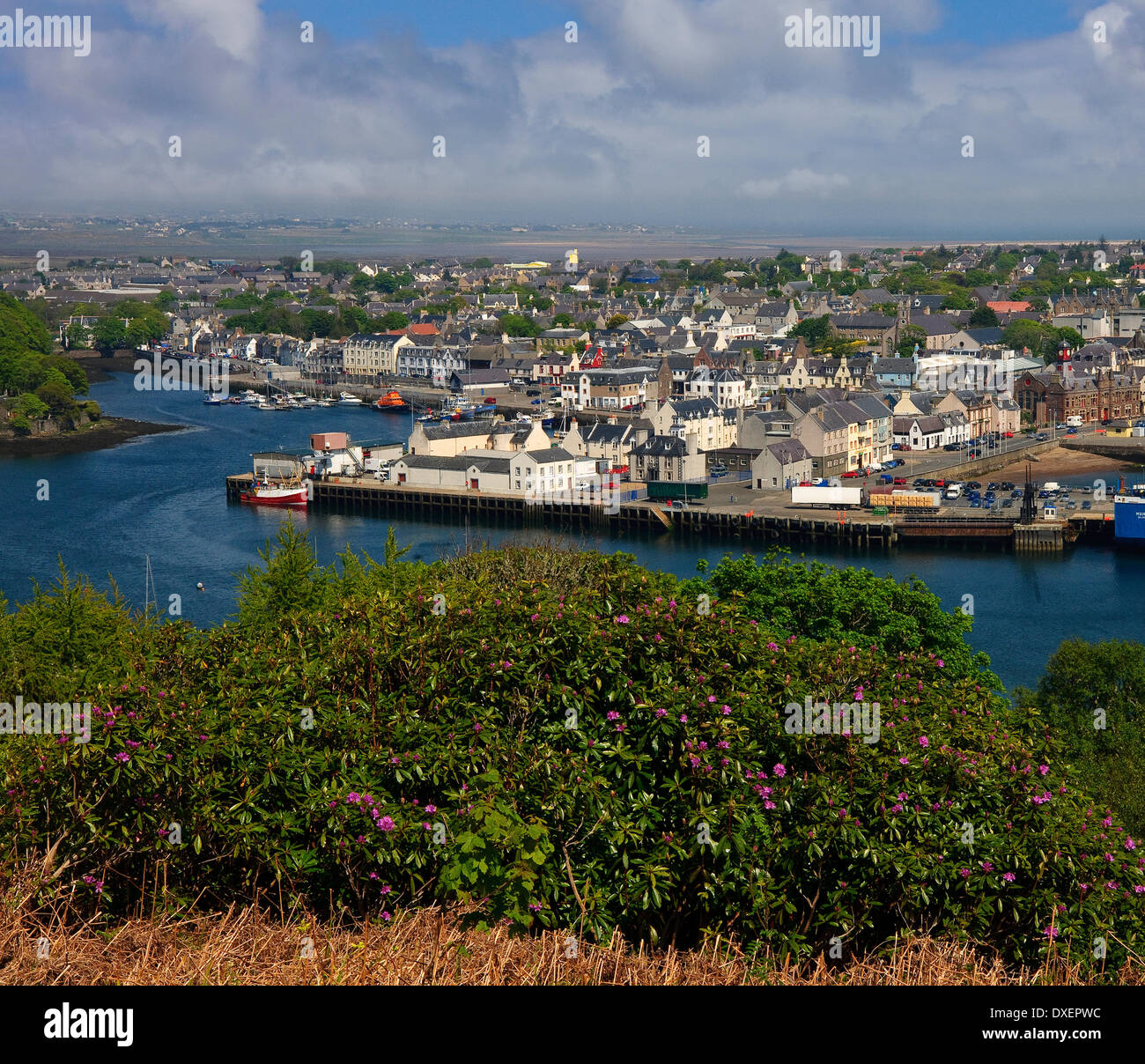Spring view across Stornoway harbour and town.Island of Lewis,Outer Hebrides. - Stock Image