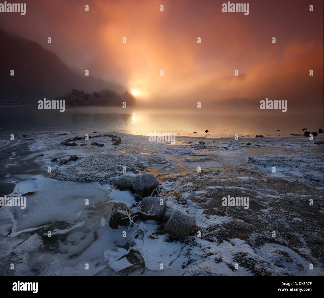 Winter sunset over Loch Shiel, Lochaber - Stock Image