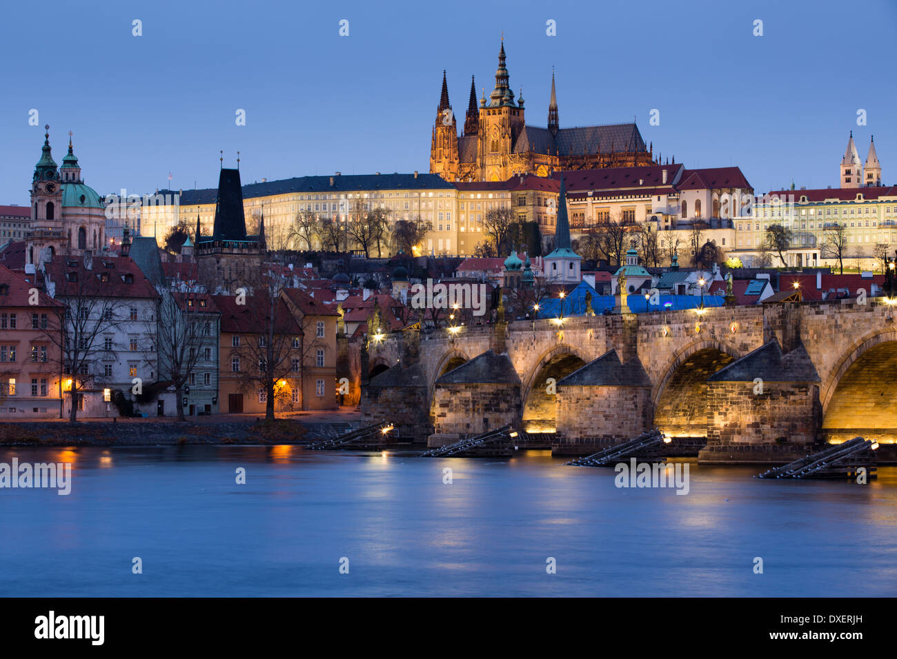 the Castle District, St Vitus Cathedral and the Charles Bridge over the River Vltava at dusk, Prague, Czech Republic Stock Photo