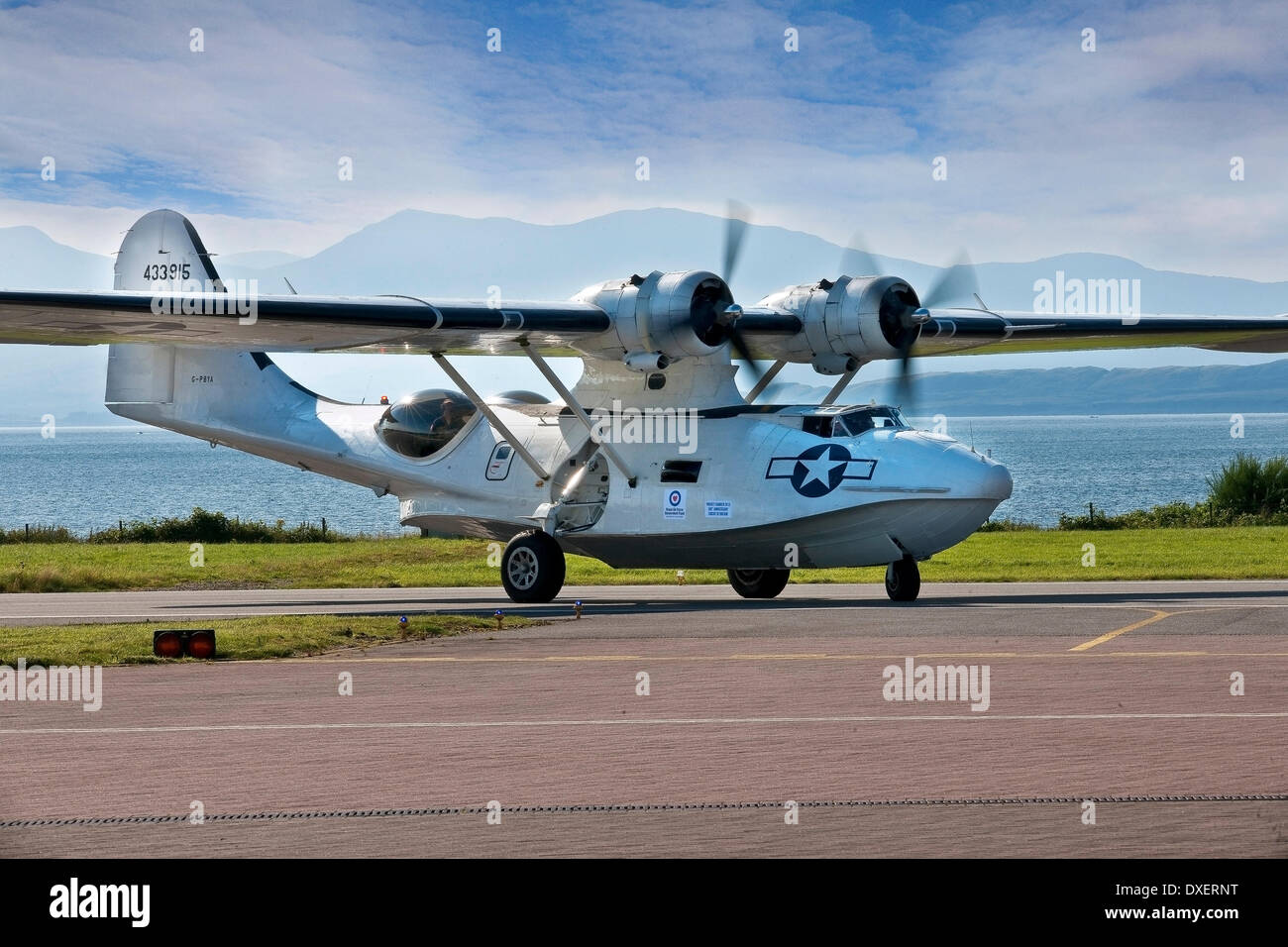 A PBY5A catalina flying boat on a visit to Oban airport in 2013 as part of the Hawker project. - Stock Image
