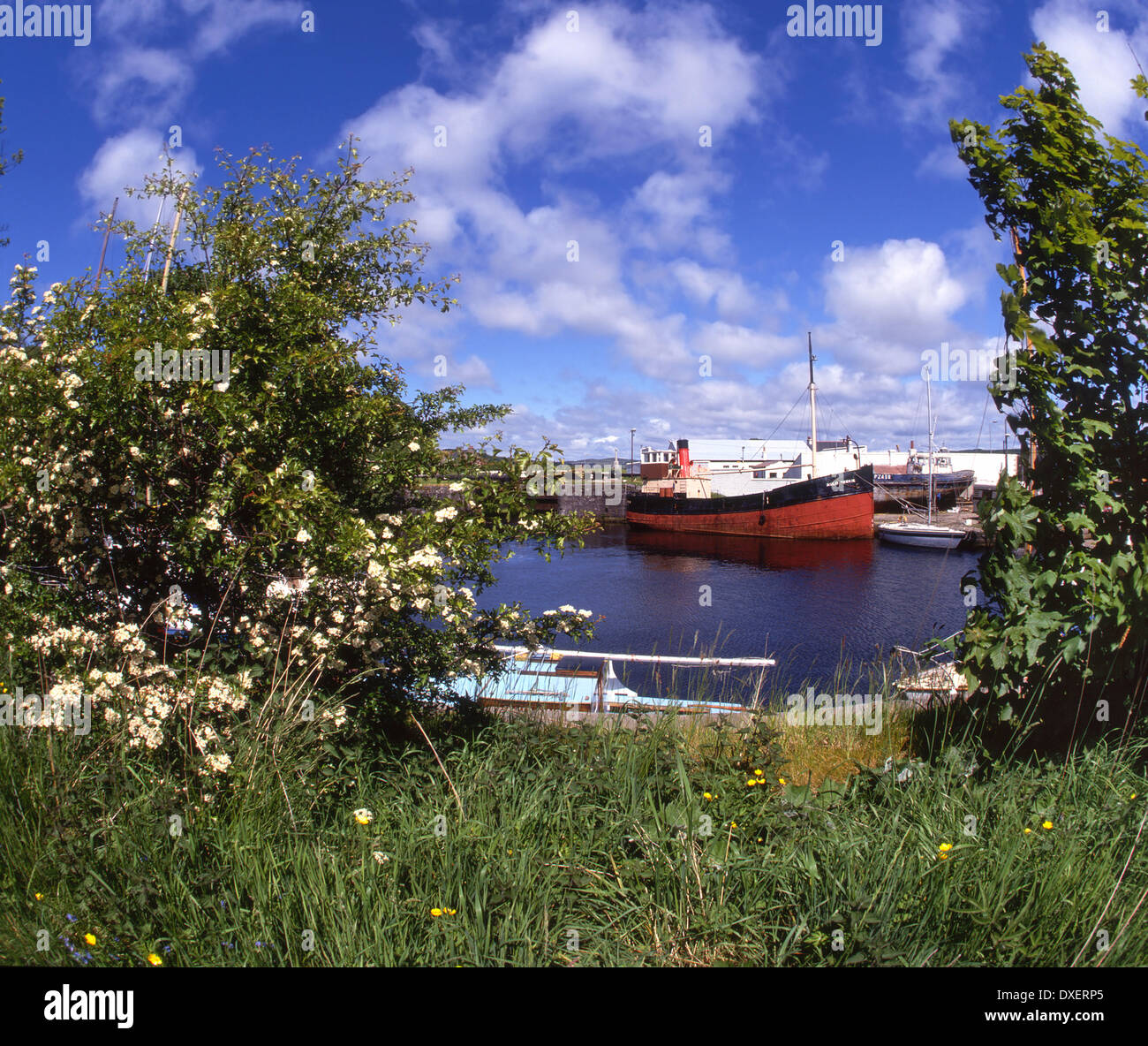 Puffer Auld reekie sits in the canal basin at Ardrishaig on the crinan canal,Argyll Stock Photo