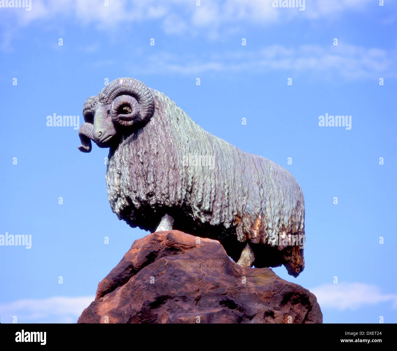 Colvin fountain and bronze ram in Moffat town centre Scottish Borders, - Stock Image