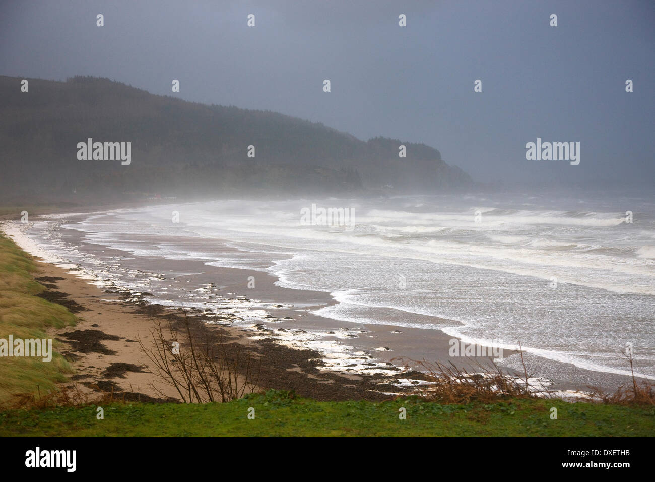Storm force winds hit Ardmucknish Bay, Tralee, Argyll - Stock Image