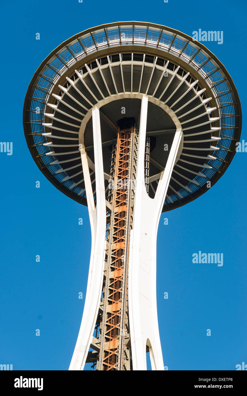Seattle, Space needle, view from below, blue sky - Stock Image