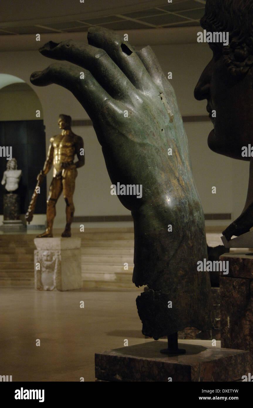 Constantine I, The Great (272-337). Roman Emperor. Left Hand of Constantine's colossal statue. Bronze. Rome. - Stock Image