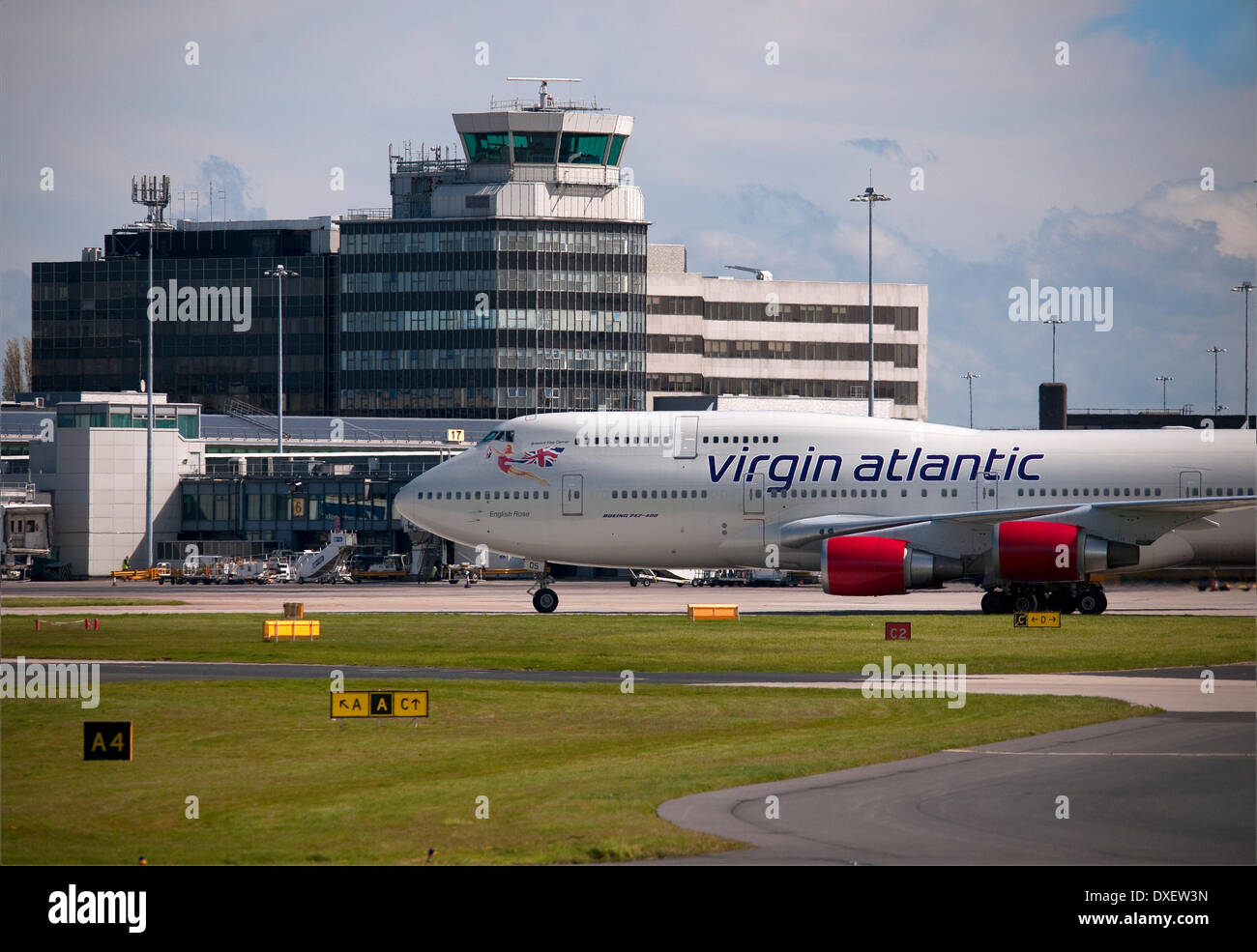 A virgin atlantic boeing 747-400 jumbo arrives at manchester airport 2012 england. - Stock Image