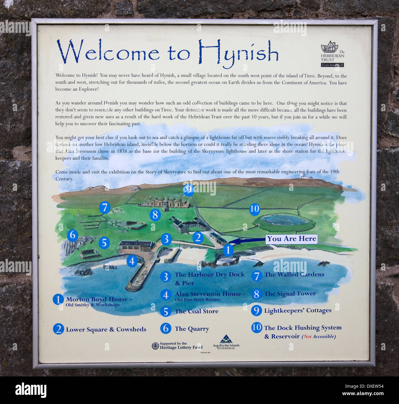 signpost and detailed map of Hynish on the island of Tiree.inner-hebrides. - Stock Image