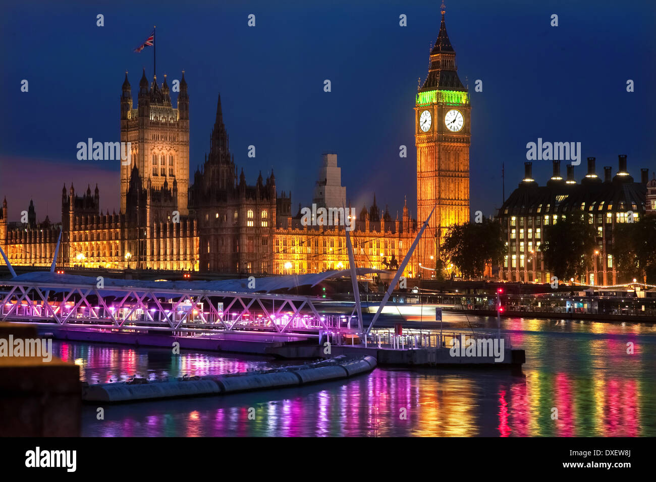 Houses of Parliment and Big ben from the south bank, London, England, UK - Stock Image