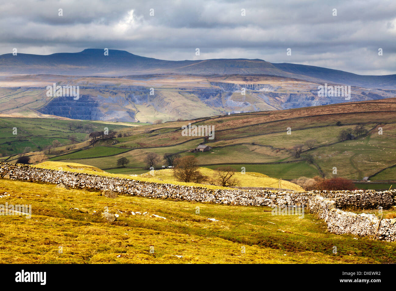 Quarries below Ingleborough from above Stainforth near Settle Yorkshire Dales England - Stock Image