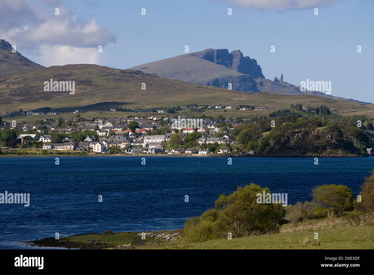 Portree and the Storr Rock, Isle of Skye. - Stock Image