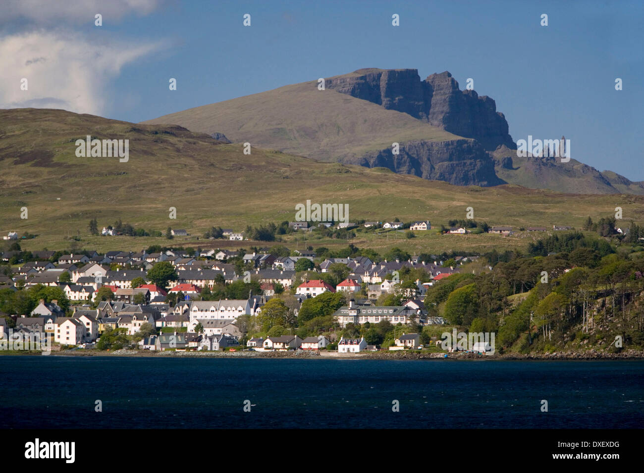 Portree and Storr rock, isle of Skye - Stock Image