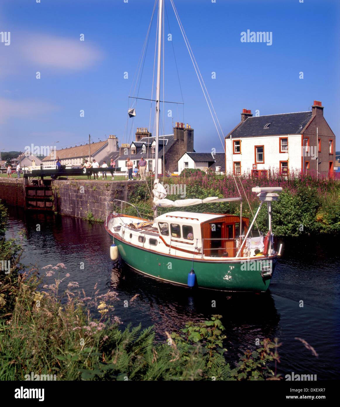 yacht on the Crinan canal in Ardrishaig,Argyll. Stock Photo