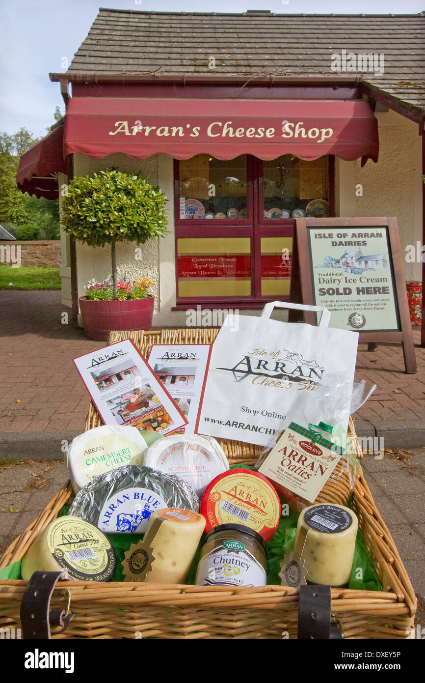 A selection of Arran Cheese outside factory and shop at Cladach, Isle of Arran. - Stock Image