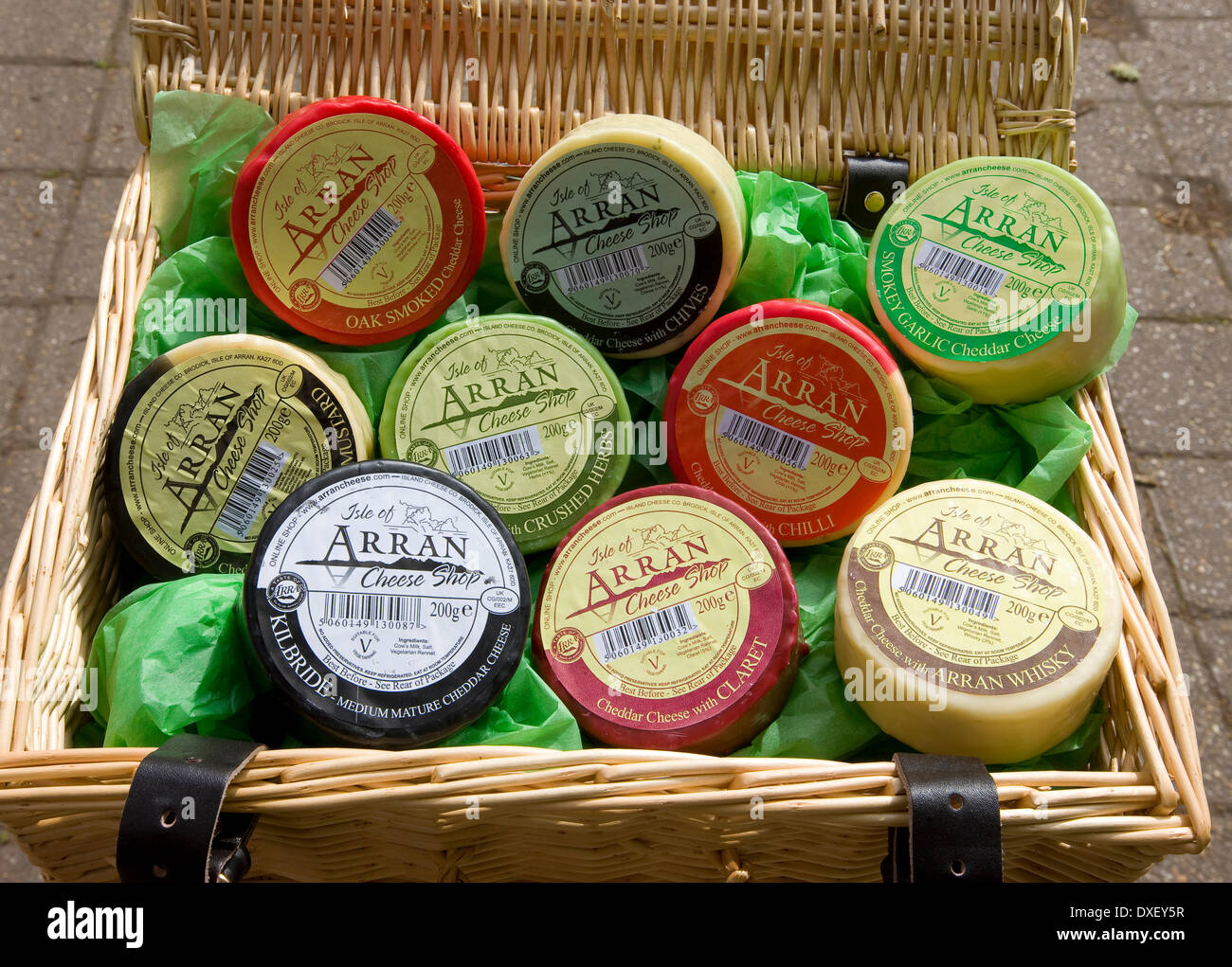 A selection of Arran cheeses, Cladach, Isle of Arran. - Stock Image