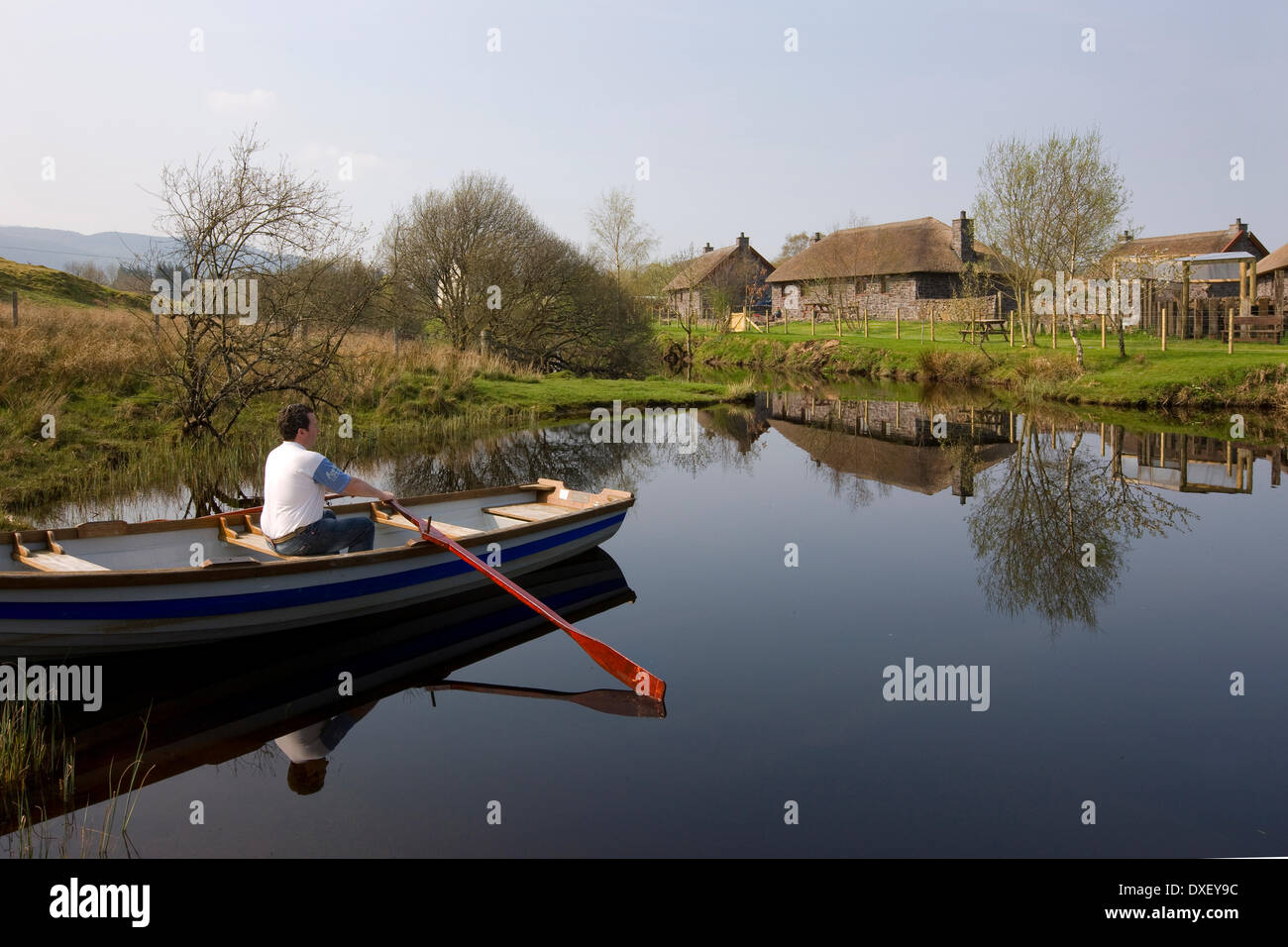 Peaceful scene with rowing boat on Loch Nell,argyll - Stock Image