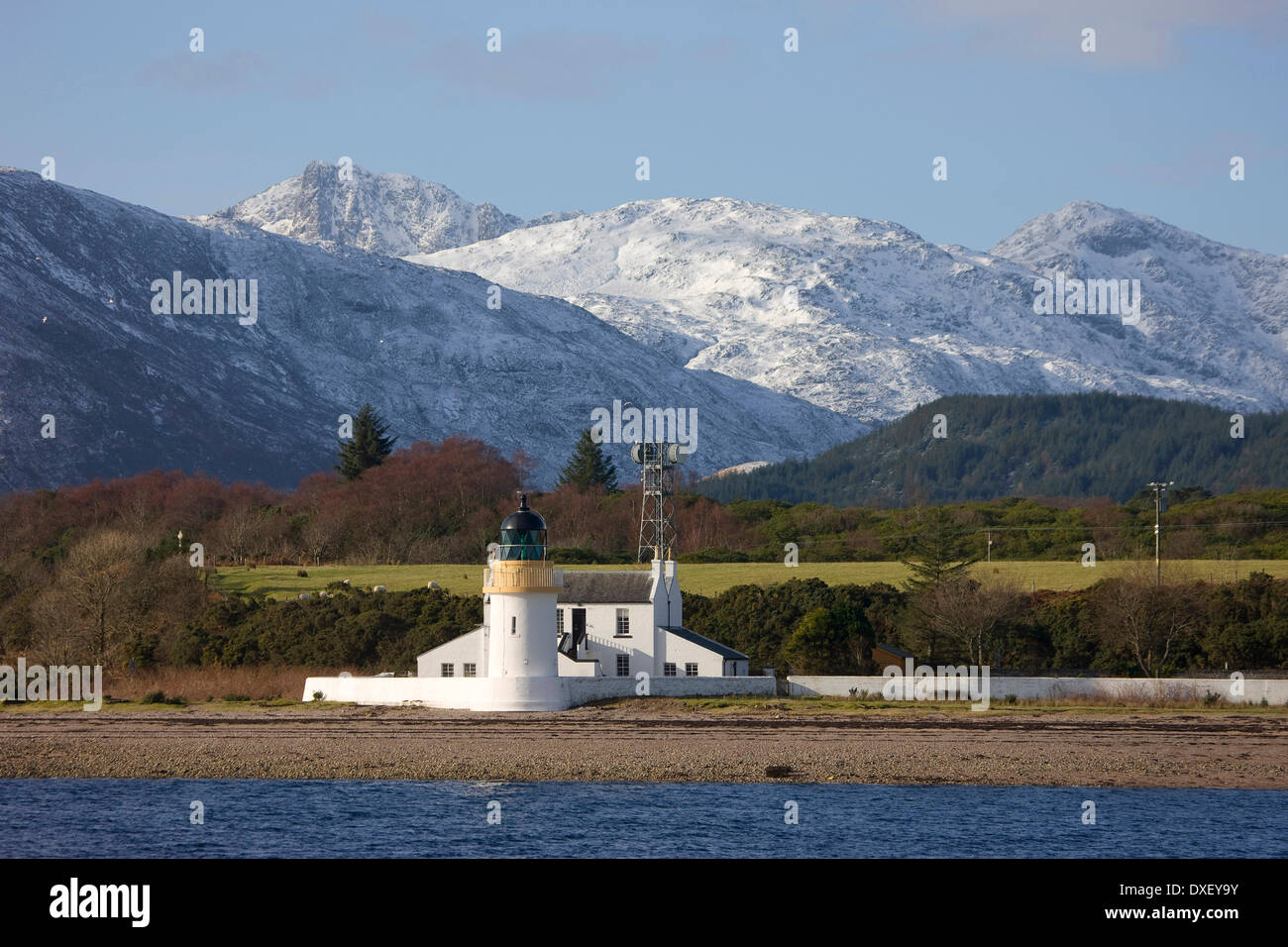 Corran Sound Lighthouse, Ardgour, Loch Linnhe. - Stock Image