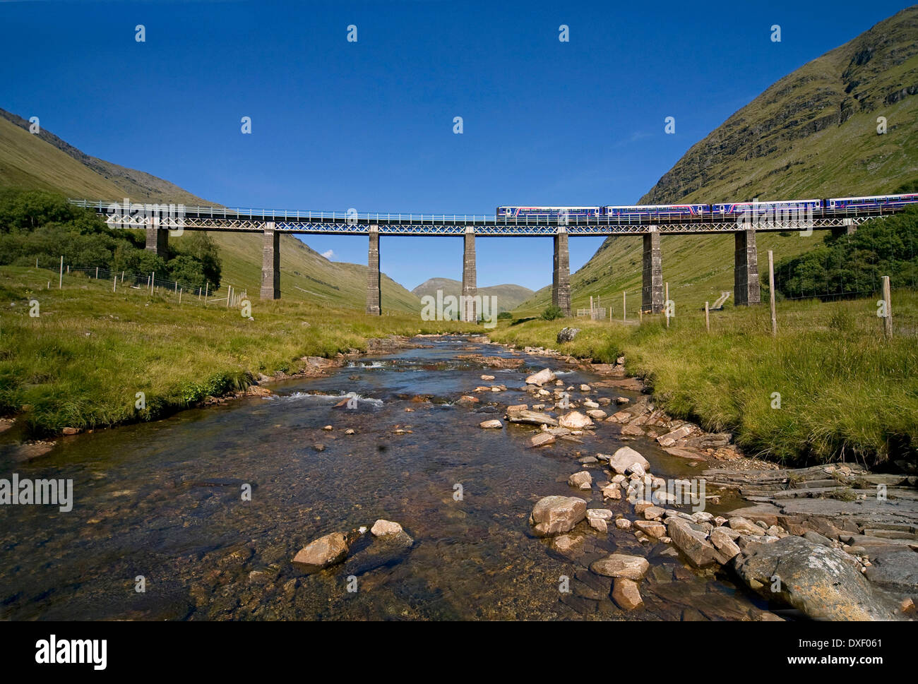 First Scotrail 156 Sprinter, Auch Viaduct, Nr Tyndrum. - Stock Image