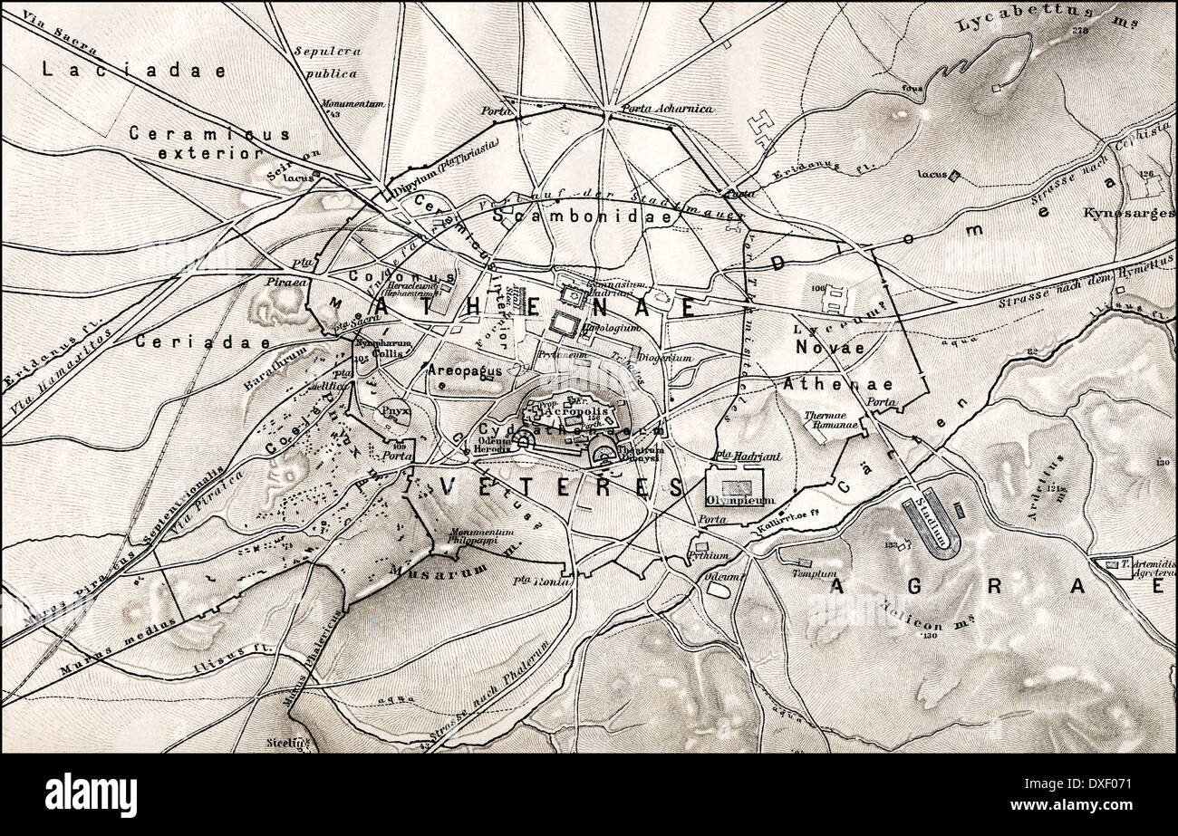 Historical map of ancient Athens, Greece, Europe Stock Photo ... on map of arabah, map of greece and italy, map of arabia, map of lydia, map of babylon, map of armageddon, map of ephesus, map of paul's journeys, map of samarkand, map of sardis, map of roman forum, map of ancient greek athens, map of istanbul, map of st. paul va, map of aram, map of galatia, map of athenian empire, map of caesarea maritima, map of delos, map of nicopolis,