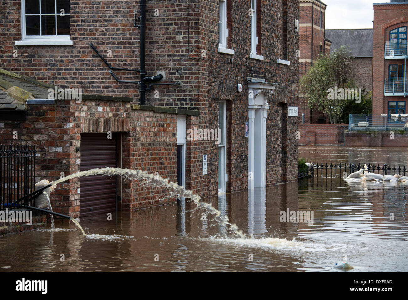 The River Ouse floods the streets of central York in the United Kingdom. September 2012. Stock Photo