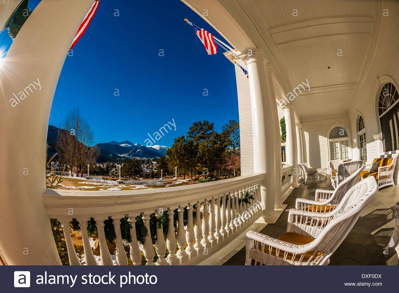 The historic Stanley Hotel, Estes Park, Colorado USA. - Stock Image