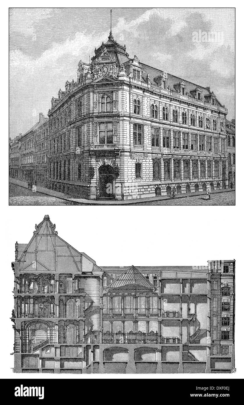 Historic illustration, 19th century, Bank building, Bayerische Vereinsbank, Munich, Bavaria, Germany, Europe - Stock Image