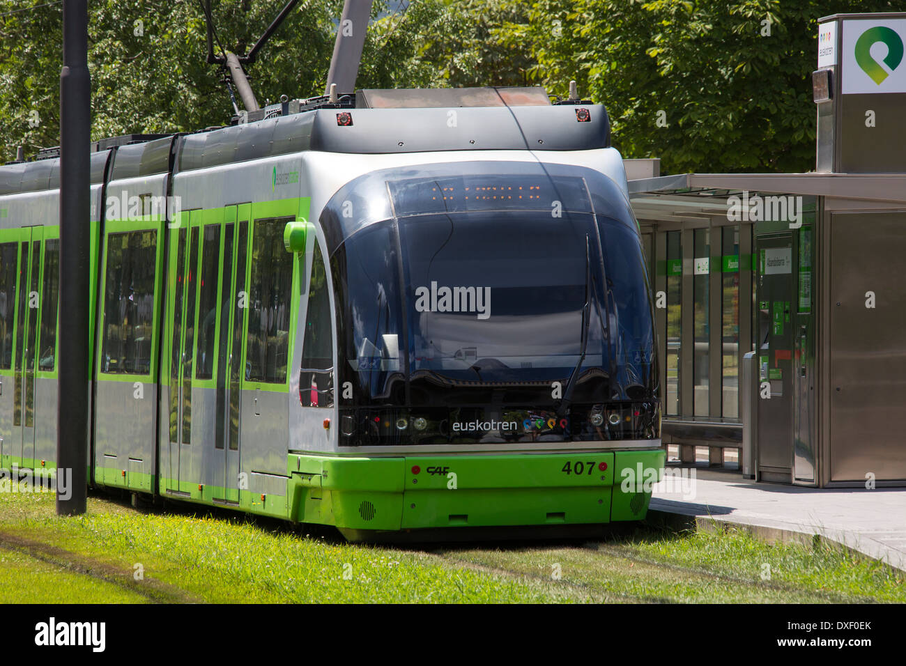 The Euskotren tram system in the city of Bilbao in northern Spain. - Stock Image