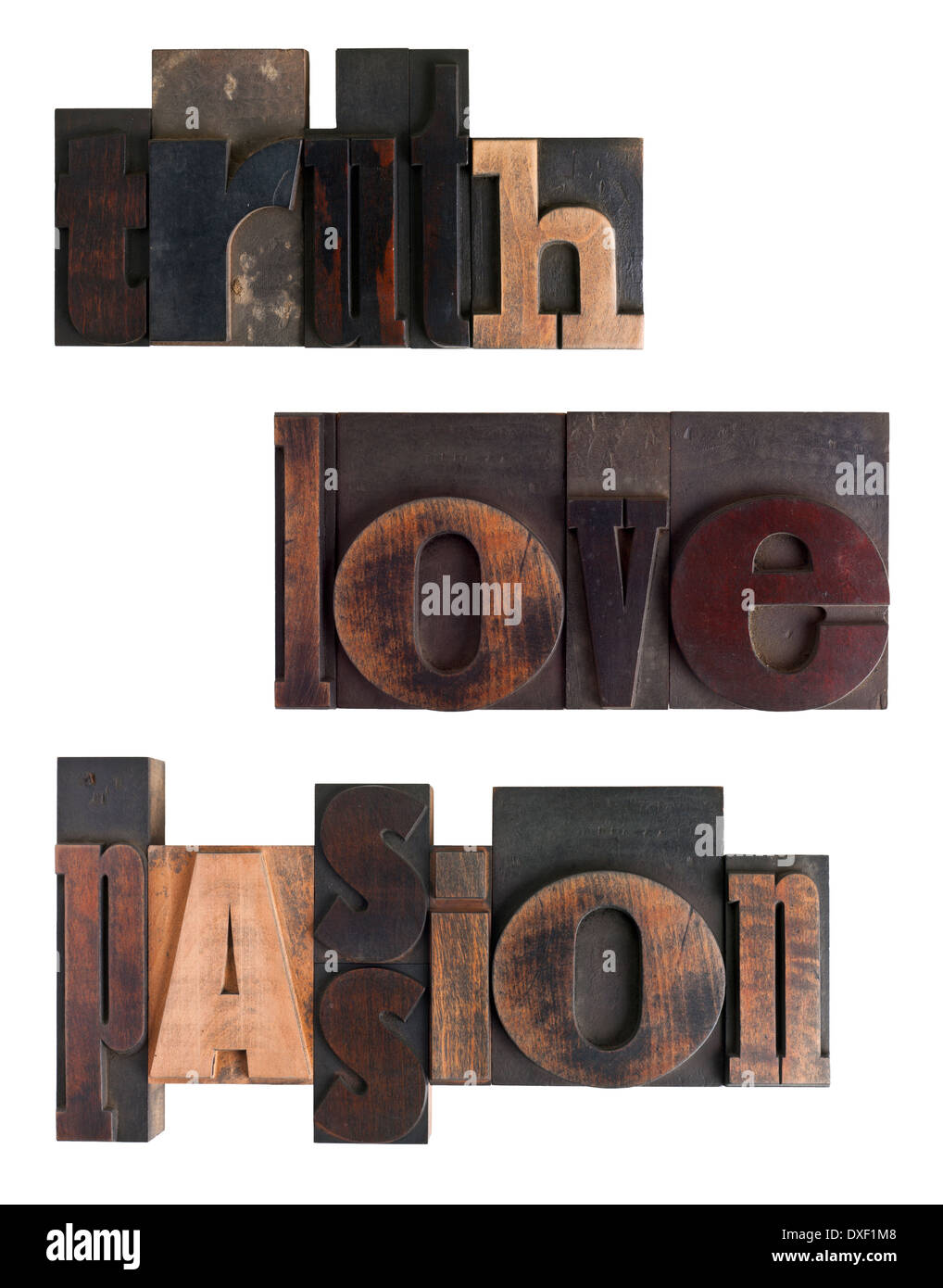 Words truth, love, passion written in vintage letterpress type, scratched and stained, isolated on white background - Stock Image