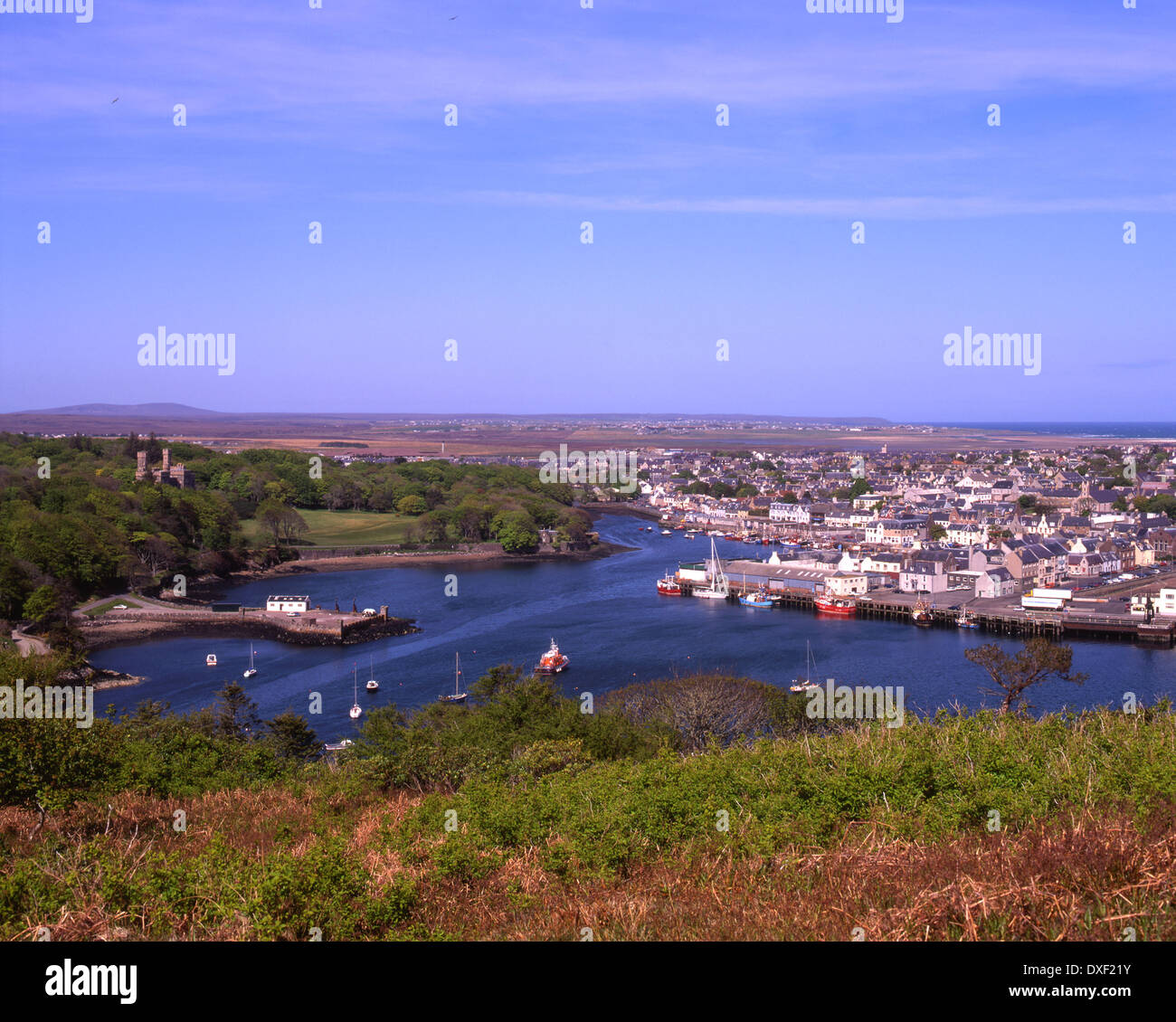 Overlooking Stornoway harbour and town, Isle of Lewis, Outer Hebrides - Stock Image