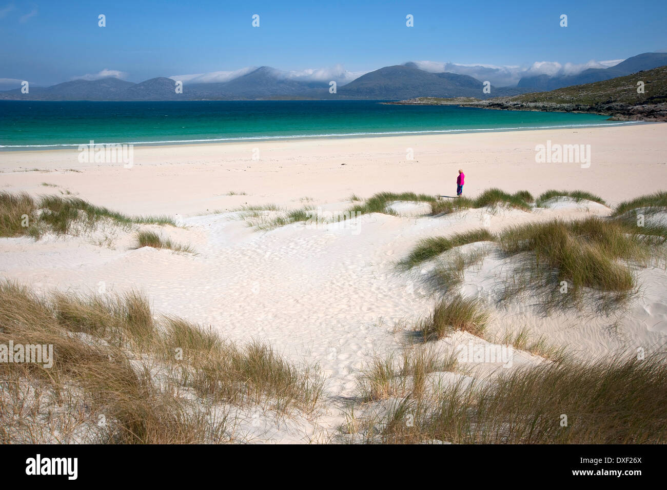 Beautiful beach at Luskentyre towards the north harris hills.Island of south Harris.Outer Hebrides. - Stock Image