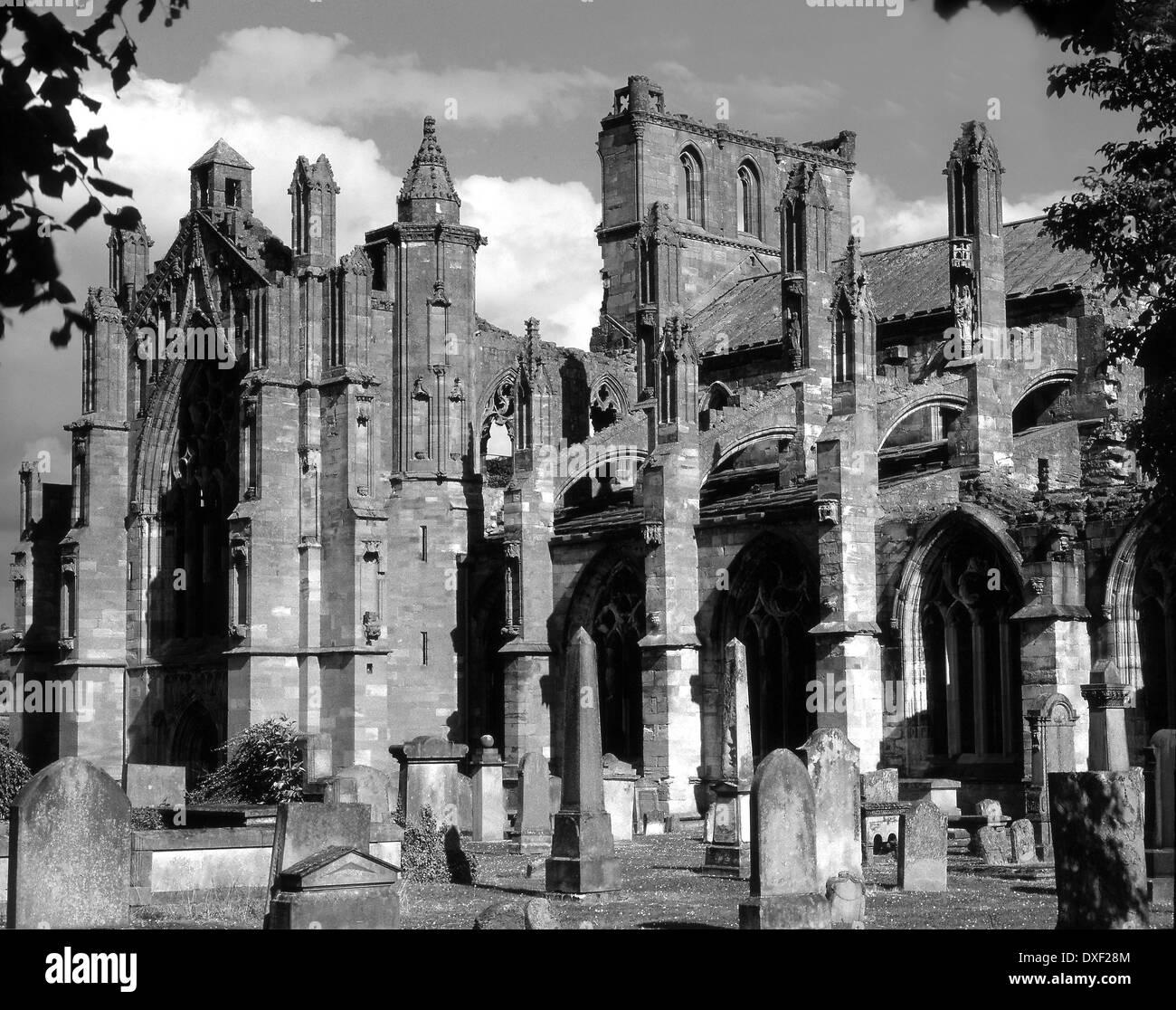 Melrose Abbey, Scottish Borders - Stock Image