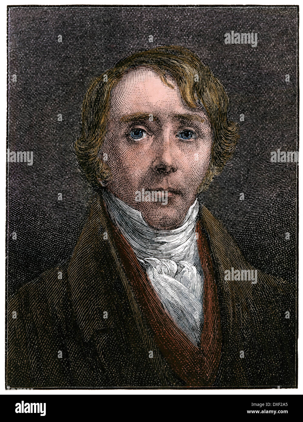 American abolitionist Reverend William Ellery Channing, 1800s. Hand-colored woodcut - Stock Image