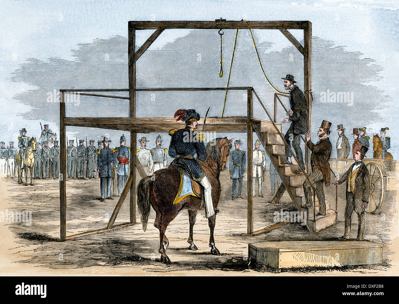 John Brown ascending the scaffold for his execution, 1859. Hand-colored woodcut - Stock Image