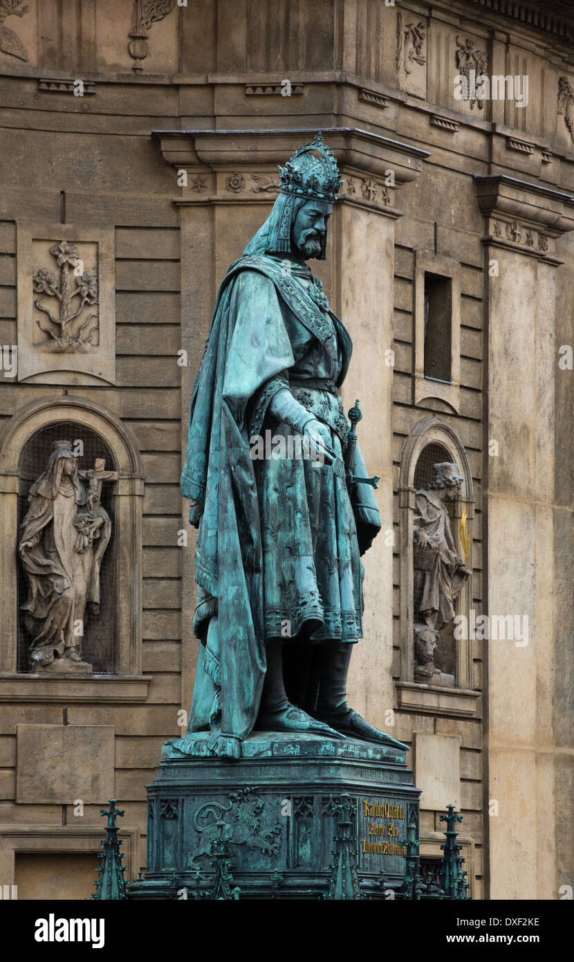 statue of King Charles IV, Knights of the Cross Square, Old Town, Prague - Stock Image