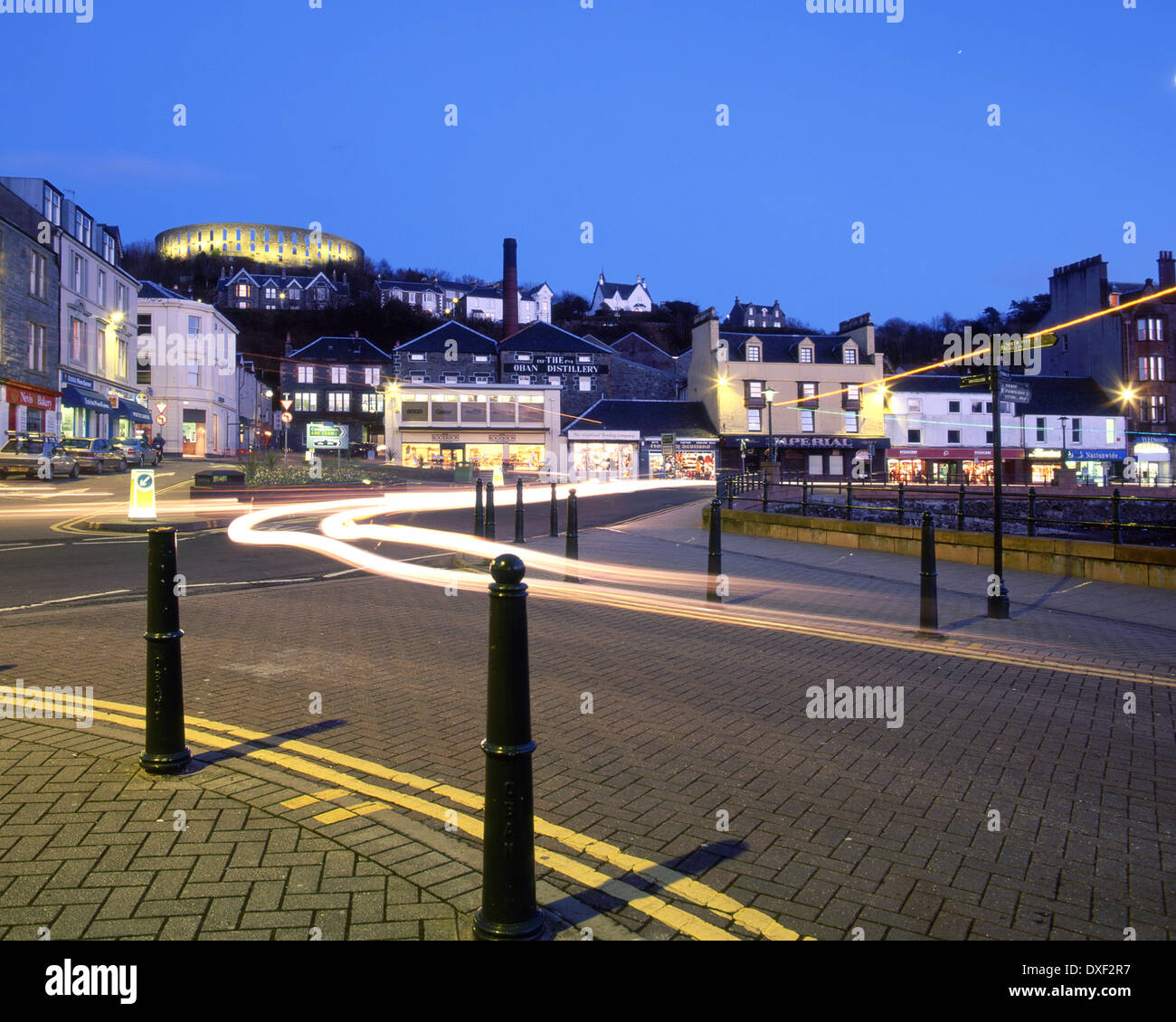 Oban night shot from the North Pier entrance, archive late 90's, Argyll - Stock Image