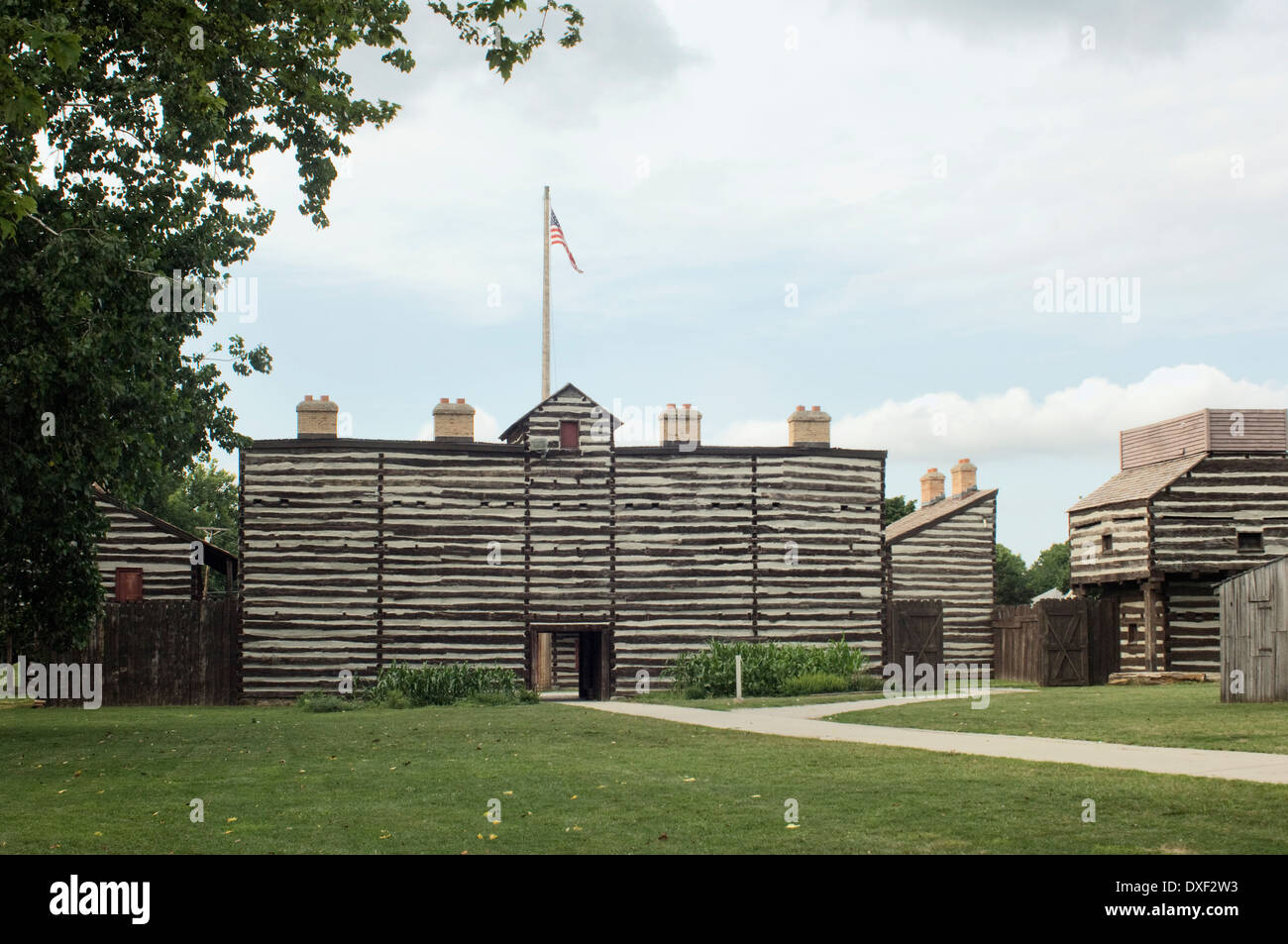 Replica of old Fort Wayne, built in 1815 on the Maumee River, Ft Wayne, Indiana. Digital photograph Stock Photo