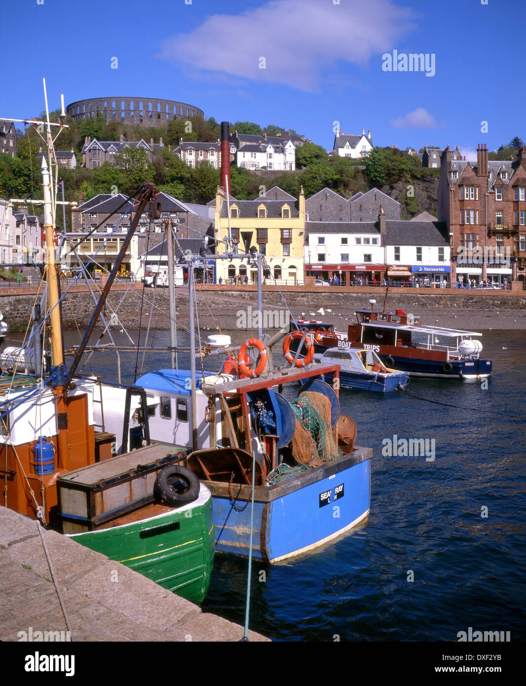 Oban town centre and tower from the North Pier 1990s - Stock Image