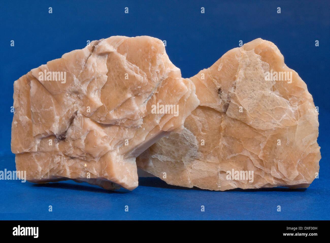 geological samples of orthoclase feldspar. - Stock Image