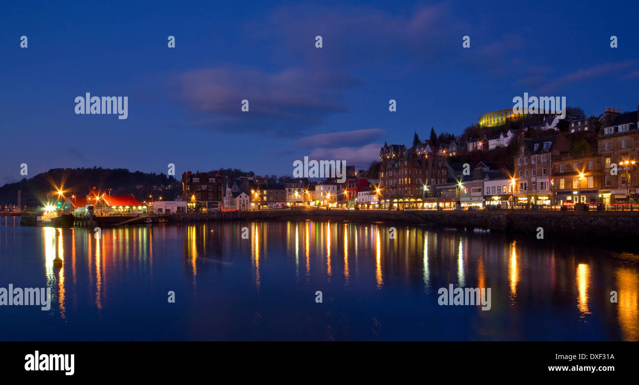 View across Oban bay at night,Argyll. Stock Photo
