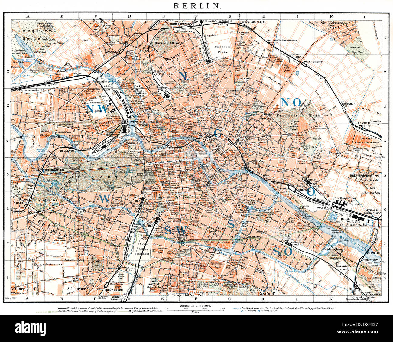Historic map of Berlin, Germany, 1896, 19th century - Stock Image
