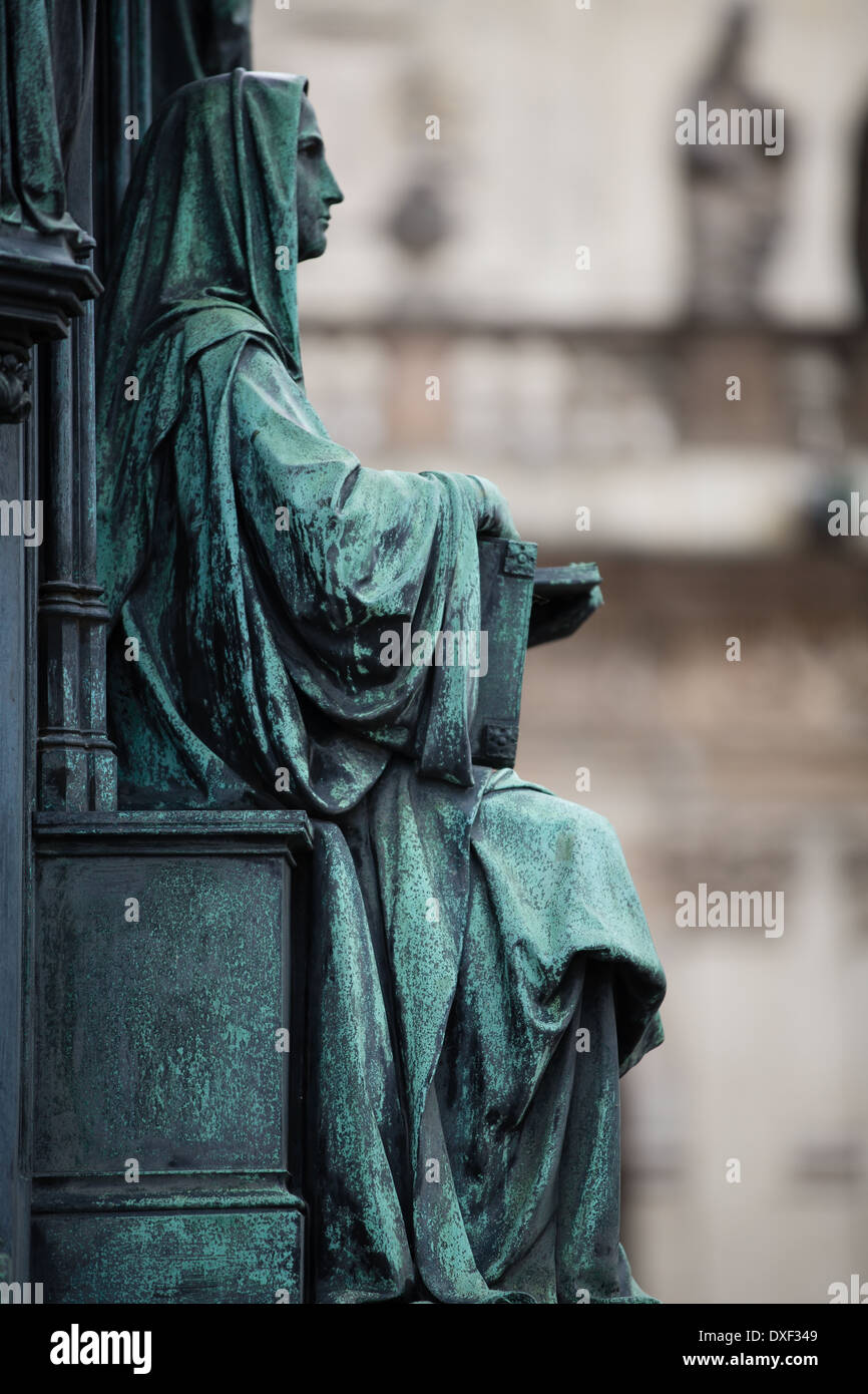 pedestal of the statue of King Charles IV, Knights of the Cross Square, Old Town, Prague - Stock Image