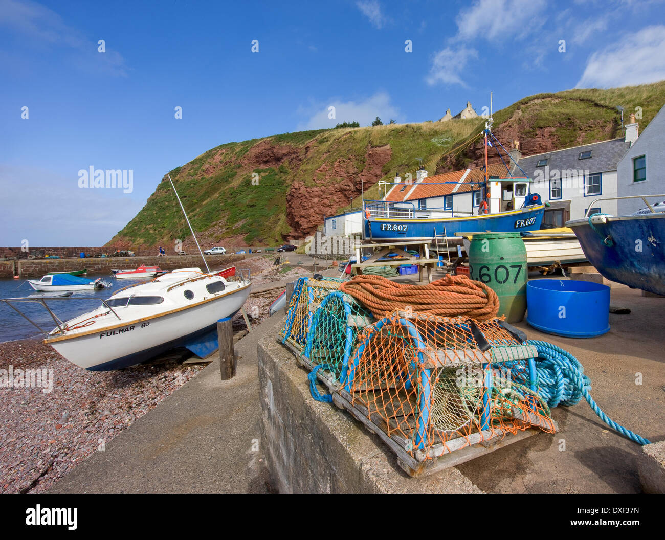 The Quaint harbour and village of Pennan, film location for the 1980s movie 'Local Hero' - Stock Image