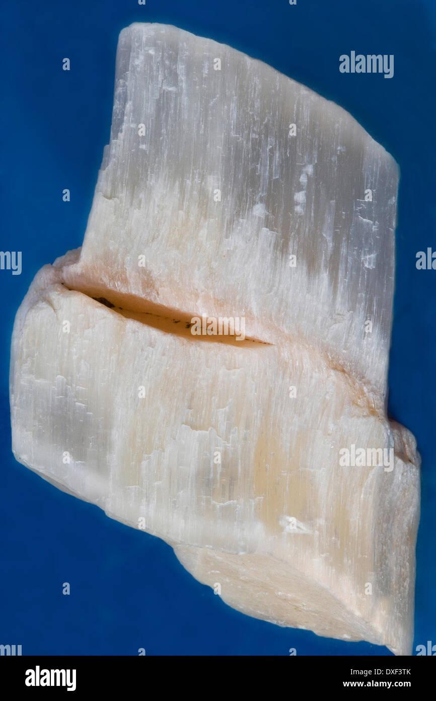 sample of Fibrous calcium sulfate (Gypsum) debyshire - Stock Image