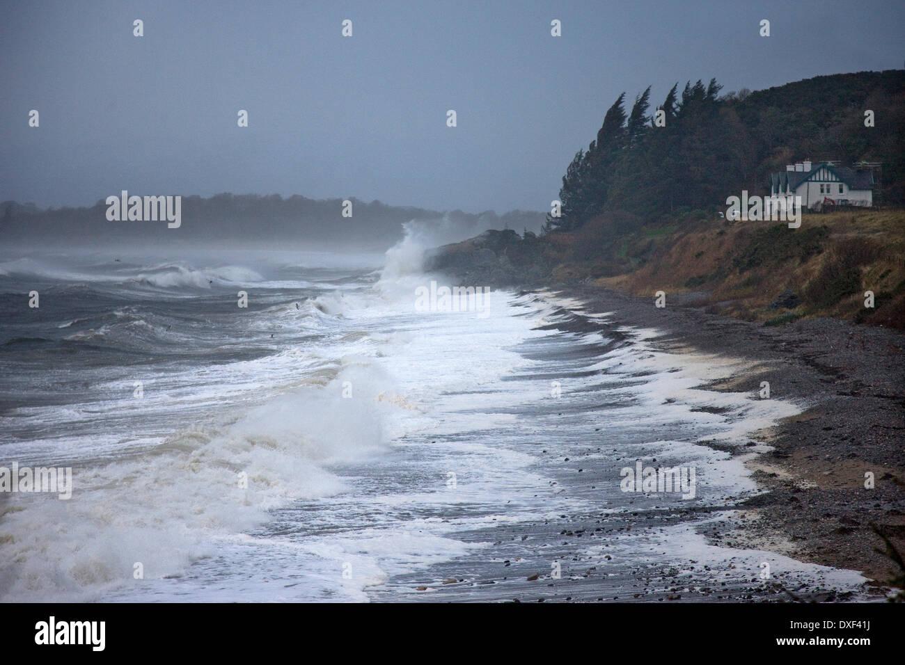 Rough storm force seas, Ardmucknish bay off Benderloch,Argyll - Stock Image