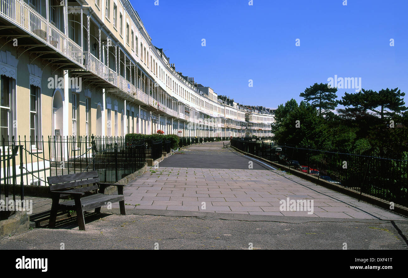 Beautiful architecture in Royal York cresent from the west end  in Clifton,near Bristol,Aven,Somerset - Stock Image