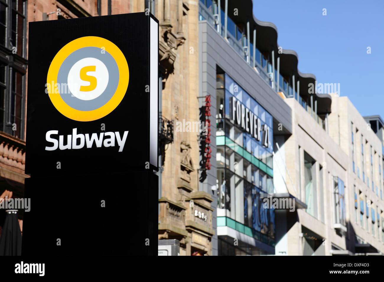A subway (underground) station sign in Glasgow city centre, Scotland, UK - Stock Image